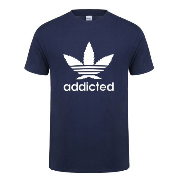 New Addicted White Leaf T Shirt Men Summer Fashion Short Sleeve Cotton Weed Day T Shirts O-neck Funny Mens T-shirt Tops - Blue