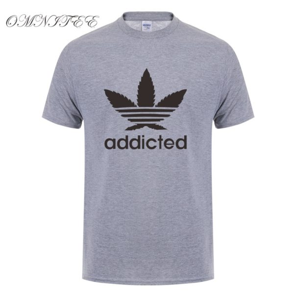 New Addicted Black Leaf T Shirt Men Summer Fashion Short Sleeve Cotton Weed Day T Shirts O-neck Funny Mens T-shirt Tops