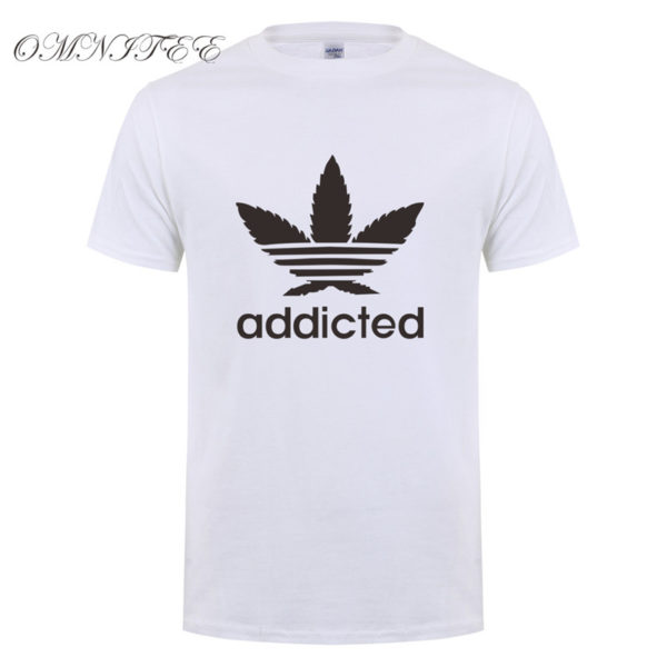 New Addicted Black Leaf T Shirt Men Summer Fashion Short Sleeve Cotton Weed Day T Shirts O-neck Funny Mens T-shirt Tops - White