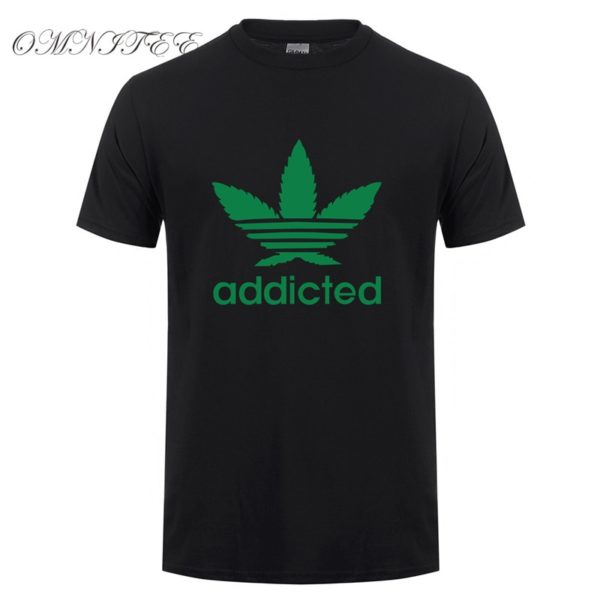 New Addicted Green Leaf T Shirt Men Summer Fashion Short Sleeve Cotton Weed Day T Shirts O-neck Funny Mens T-shirt Tops - Black