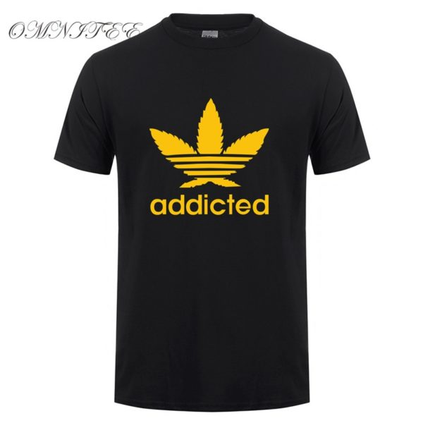 New Addicted Yellow Leaf T Shirt Men Summer Fashion Short Sleeve Cotton Weed Day T Shirts O-neck Funny Mens T-shirt Tops - Black