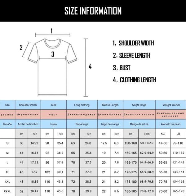 T-shirt - Size Chart