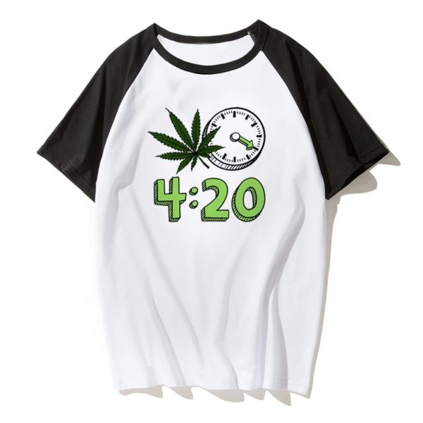 Weed 4:20 it's Time Fashion T-shirt - Black.White