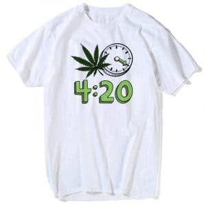 Weed 420 it's Time Fashion T-shirt - White - XXXL