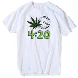 Weed 420 it's Time Fashion T-shirt - White - XXXL